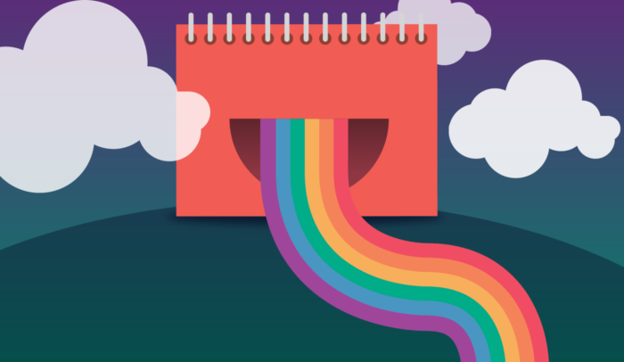 Notepad with a mouth that has a rainbow coming out of it