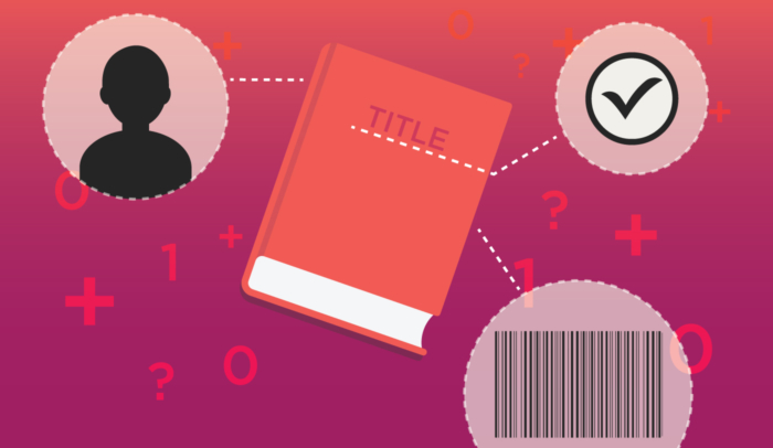 ebook metadata illustration on pink background
