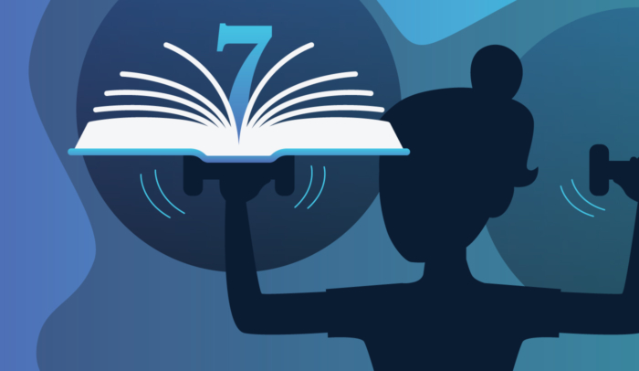 silhouette of a person lifting a book